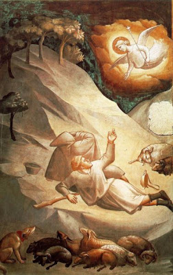 ...and they were sore afraid.  And the angel said unto them, 'Fear not...'; but, hello, it was an ANGEL! - The Annunciation to the Shepherds, by Taddeo Gaddi in Santa Croce Church, Florence, Italy - public domain, via Wikimedia Commons