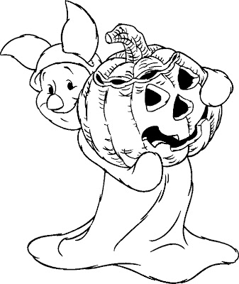 Winnie Pooh Bear Halloween Coloring Pages