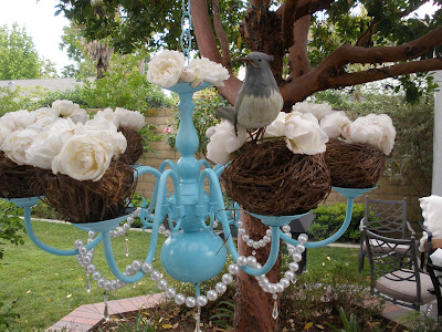 Spring brunch decor - turquoise chandelier for spring time.