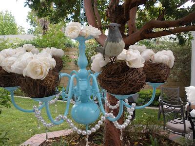 Spring brunch decor - turquoise chandelier for spring time.
