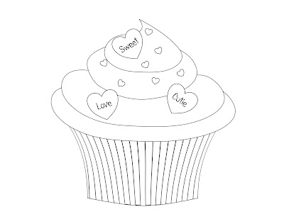 Cute Birthday Cupcake Coloring Pages