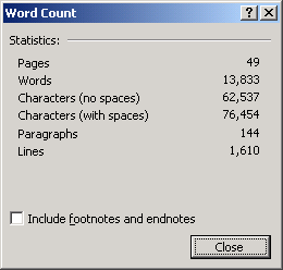 Word count of my commenters contributions.