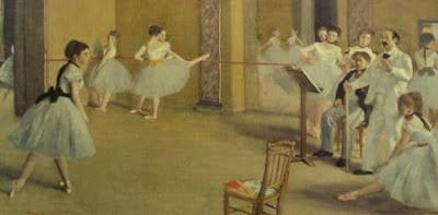detail from Le Foyer de la Danse a l'Opera de la Rue Le Peletier - Degas