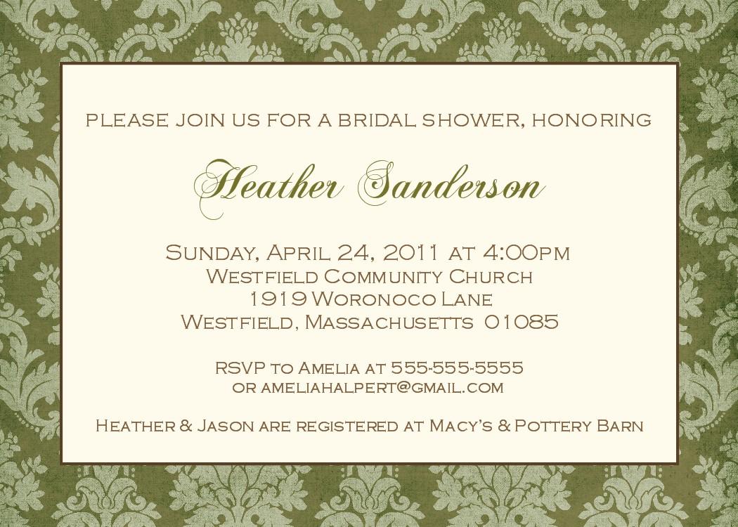 Bear river photo greetings elegant bridal shower invitations for Designer bridal shower invitations