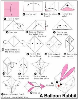 พับกระต่ายกระดาษ