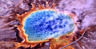 The Grand Prismatic Spring in winter