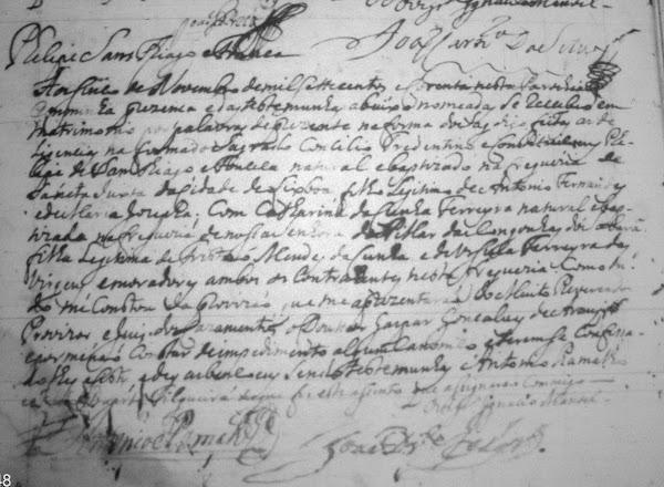 Registro de casamento de Felipe Santiago Afonseca e de Catharina da Cunha Ferreira
