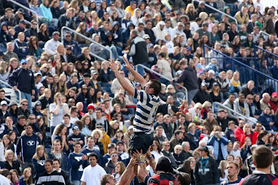 BYU Rugby Lock TJ Allred jumps high in front of a packed house during the 2010 Wasatch Cup