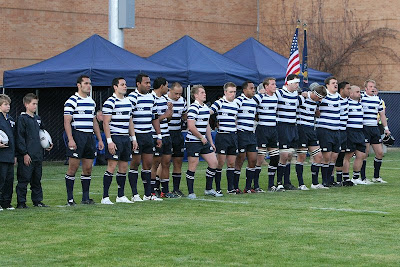 The BYU Rugby 1st XV ready for the national anthem