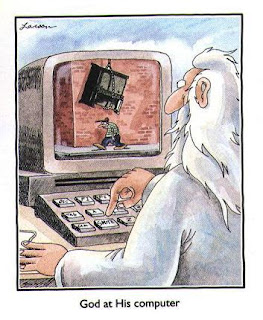 God at His computer