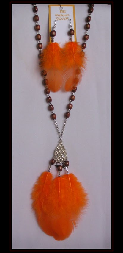 Orange Necklace on Bead Chain and Earrings