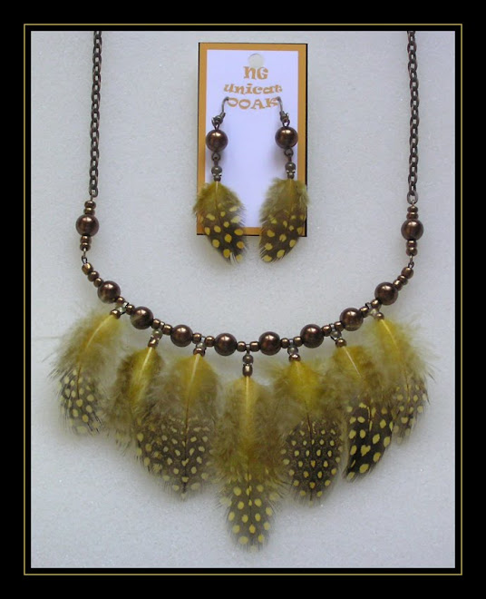 Guinea Fowl Yellow Necklace and Earrings
