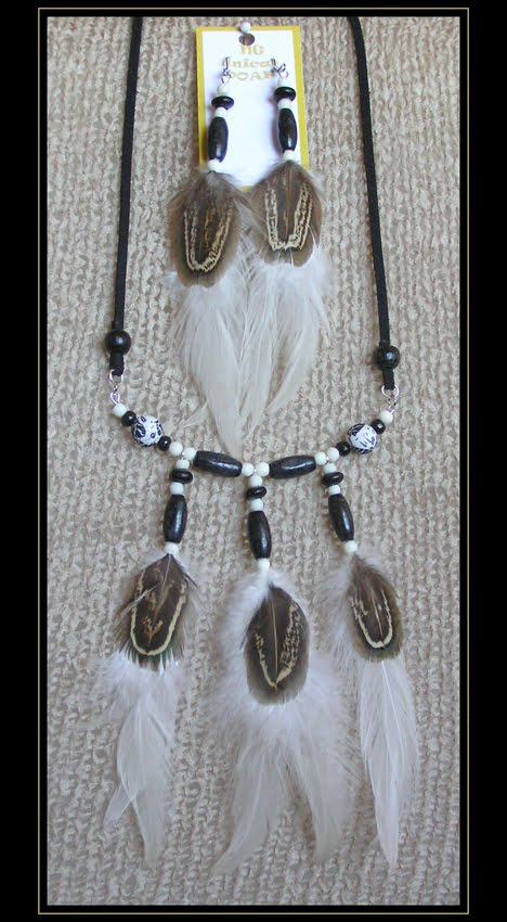 Black Rooster Necklace and Earrings