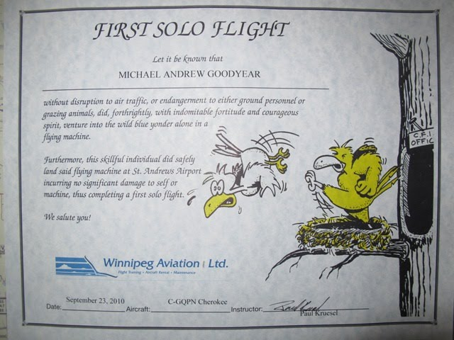 Wings over manitoba day twenty five first solo for First flight certificate template