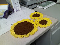 Sunflower Dishcloth and Coasters