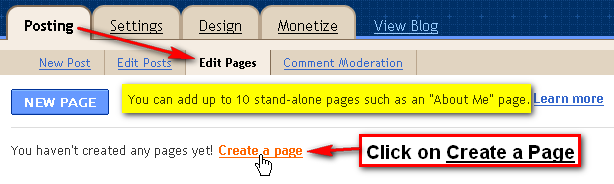 Click on create a page
