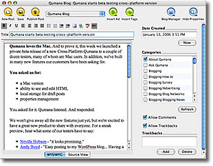 Qumana Blogger desktop client