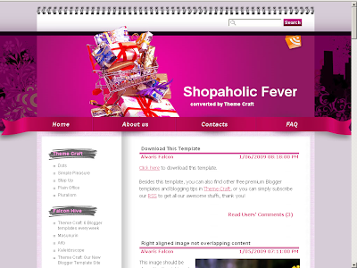 Shopaholic Blogger theme