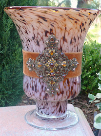 Footed Speckled Glass Cross