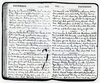 Pages from Leslie William Matthews' 1915 Diary