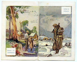 Christmas Card from leslie William Matthews to his sister Ivy - From France December 1918