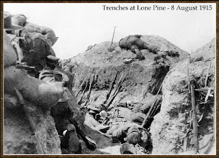 Australian trenches at lone Pine 6-9 August 1916.  2000 killed.