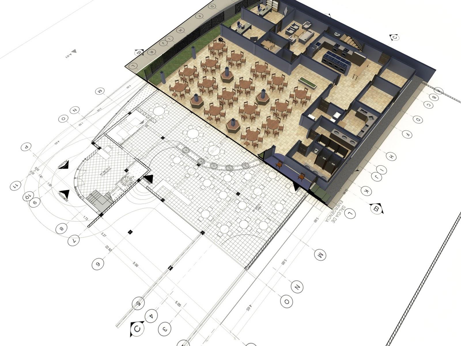 Proyecto lambda dise o de restaurant salon de eventos for Planos de salones