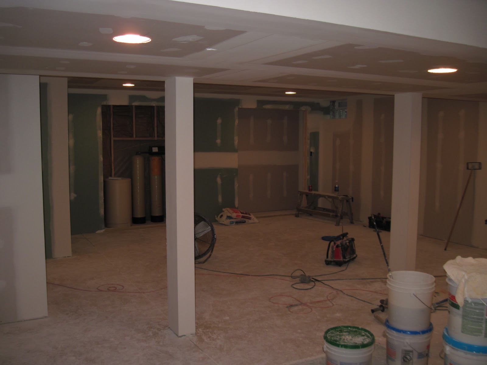 basement drywall finishing with knockdown ceiling texture finished