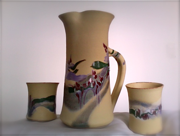 Pottery Pitcher & Cups