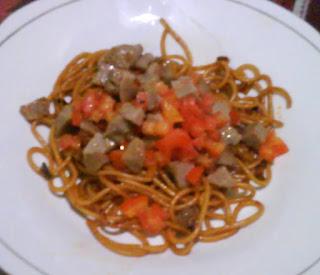 Spaghetti goreng siram dabu kering