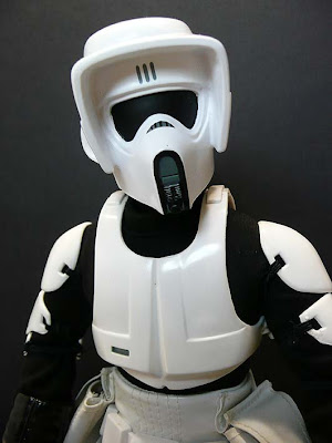 scout stormtrooper motorcycle helmet  Close-up view of the