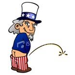 Uncle Sam relieving himself to get rid of all the political non-sense.