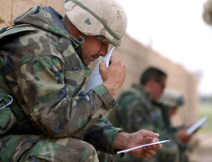 Custom of writing letters to soldier in basic training