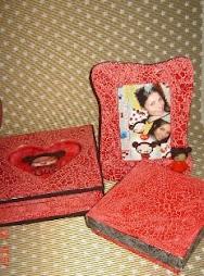Kit craquelê porta joia, porta retrato e caixa da pucca