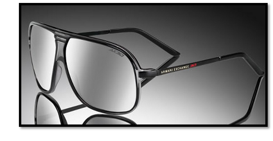 02b5e15047 A X Armani Exchange offers a fashion forward unisex navigator style with a  crystal gray plastic front and sleek shiny black metal temples.