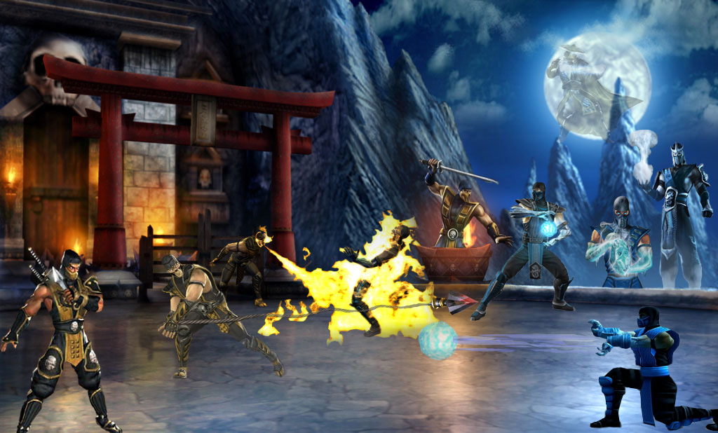 sub zero vs scorpion fatality. sub zero vs scorpion mortal
