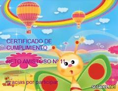 Certificado RETO AMISTOSO N° 11