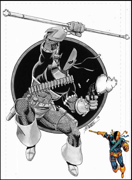 Marvel vs DC Deathstroke+2009_Commission+art+by+George+Perez_via+Perez