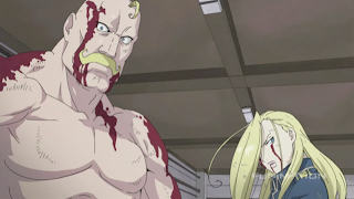 Alex and Olivier Armstrong battle the Immortal Legion in FMA: Brotherhood episode 55