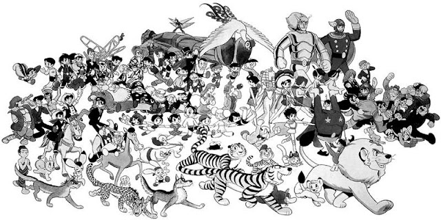 A Tezuka drawing depicting a staggering number of his famous manga characters