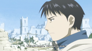 Mustang speaks with Hawkeye at the beginning of FMA: Brotherhood episode 54