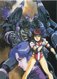 Amano (left) and Noriko (right) from Gunbuster, with the eponymous robot in the background