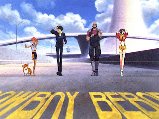 The cast of Cowboy Bebop (Ein, Ed, Spike, Jet, and Faye)