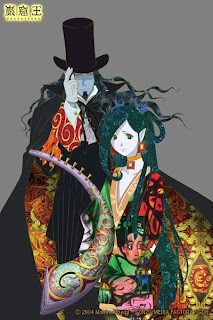 The Count (top-left) and his slave-girl Haydee (bottom-right), displaying Soejima's unique textile style
