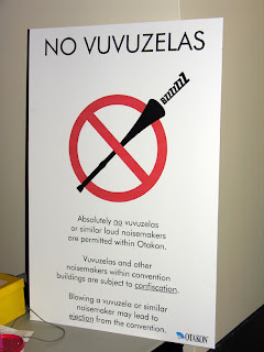 Otakon's sign proclaiming that the blowing of Vuvuzelas would NOT be tolerated