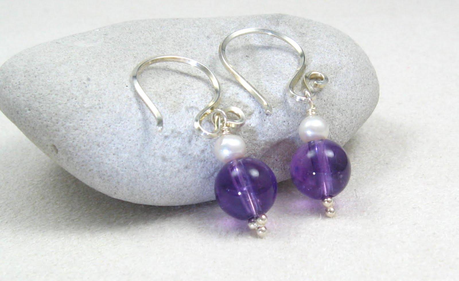 Handmade sterling silver amethyst amp freshwater pearl earrings