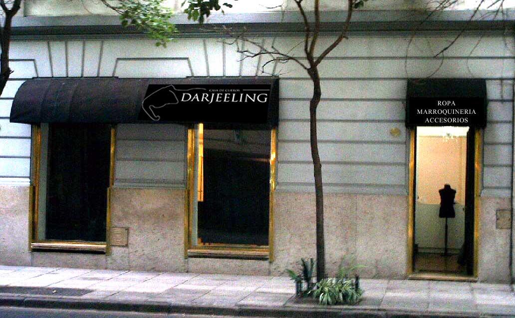 Darjeeling prendas de cuero toldos y vidriera letrista for Toldos para locales