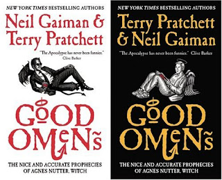 Good Omens book covers - both styles