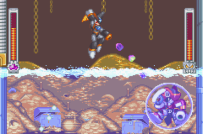 Mega Man & Bass screenshot: Bass battles Pirate Man
