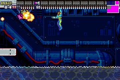 Metroid Fusion screenshot: Climbing over electrified water